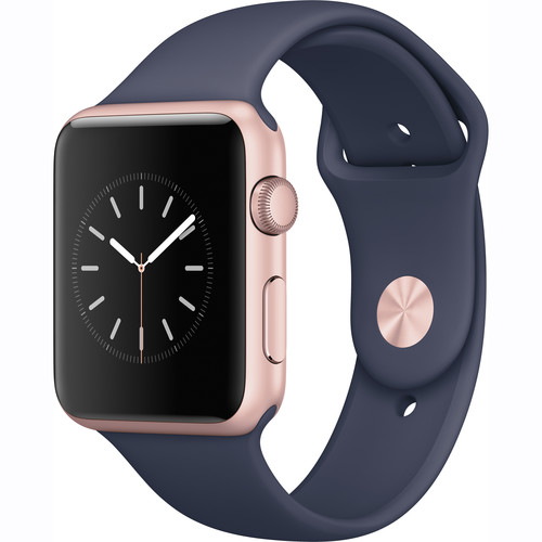 Купить - Apple Apple Watch Series 1, 42mm Rose Gold Aluminium Case with Midnight Blue Sport Band (MNNM2)