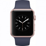 Фото Apple Apple Watch Series 1, 42mm Rose Gold Aluminium Case with Midnight Blue Sport Band (MNNM2)