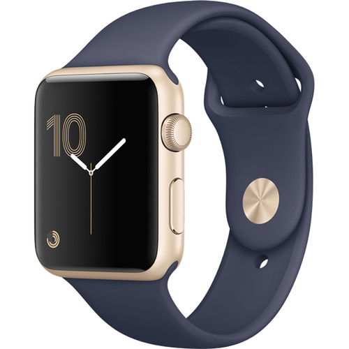 Купить - Apple Apple Watch Series 1, 42mm Gold Aluminium Case with Midnight Blue Sport Band (MQ122)