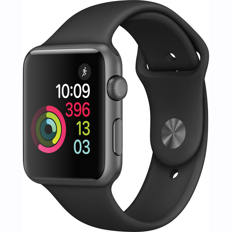 Купить - Apple Apple Watch Series 1, 42mm Space Grey Aluminium Case with Black Sport Band (MP032)