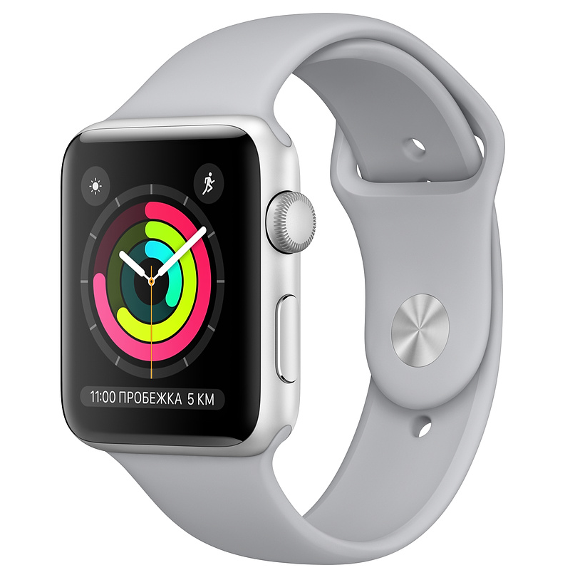 Купить - Apple Apple Watch Series 3 (GPS) 38mm Silver Aluminum Case with Fog Sport Band (MQKU2)