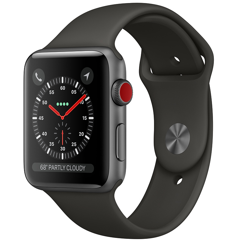 Купить - Apple Apple Watch Series 3 (GPS) 42mm Space Gray Aluminum Case with Gray Sport Band (MR362)