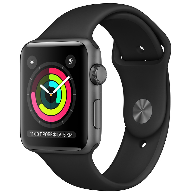 Купить - Apple Apple Watch Series 3 (GPS) 42mm Space Gray Aluminum Case with Black Sport Band (MQL12)