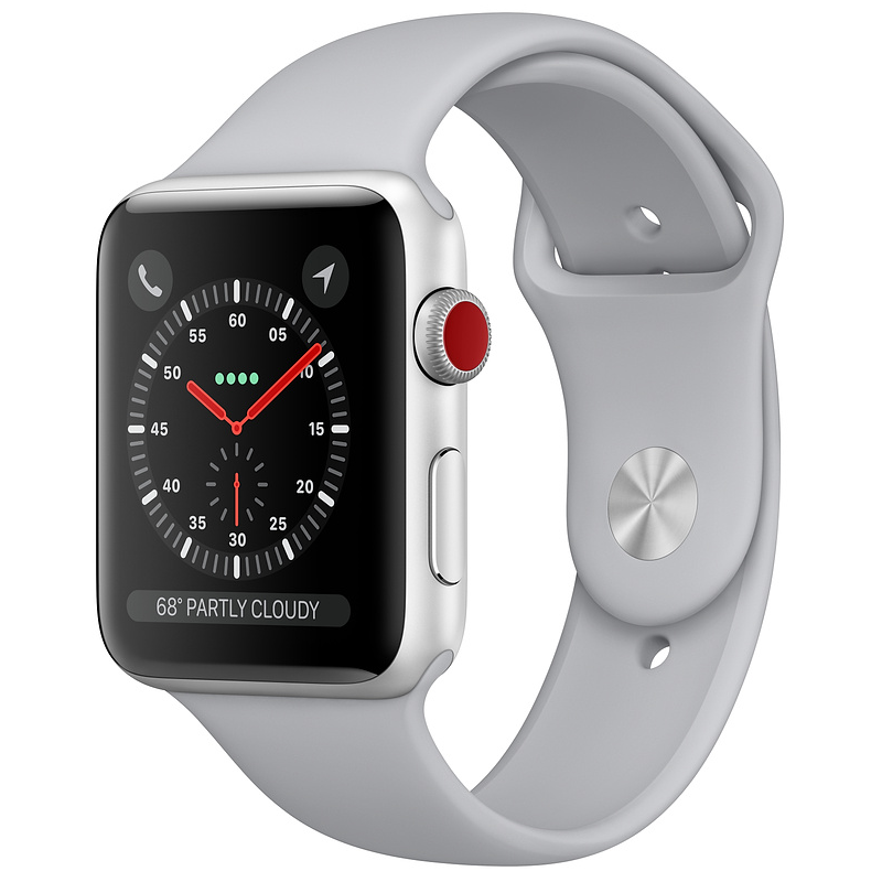 Купить - Apple Apple Watch Series 3 (GPS + Cellular) 42mm Silver Aluminum Case with Fog Sport Band (MQK12)
