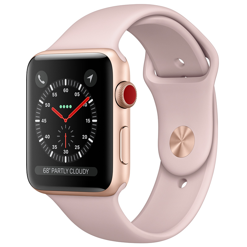Купить - Apple Apple Watch Series 3 (GPS + Cellular) 42mm Gold Aluminum Case with Pink Sand Sport Band (MQK32)