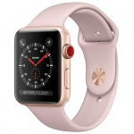 Фото - Apple Apple Watch Series 3 (GPS + Cellular) 38mm Gold Aluminum Case with Pink Sand Sport Band (MQJQ2)