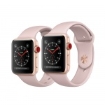 Фото Apple Apple Watch Series 3 (GPS + Cellular) 38mm Gold Aluminum Case with Pink Sand Sport Band (MQJQ2)