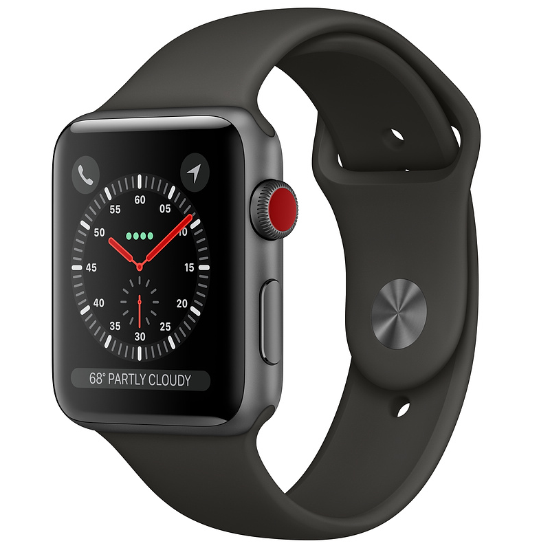 Купить - Apple Apple Watch Series 3 (GPS + Cellular) 42mm Space Gray Aluminum Case with Gray Sport Band (MR2X2)