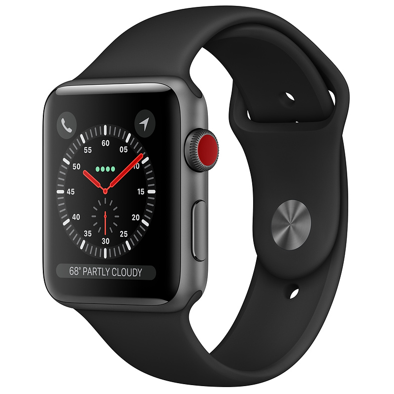 Купить - Apple Apple Watch Series 3 (GPS + Cellular) 42mm Space Gray Aluminum Case with Black Sport Band (MQK22)