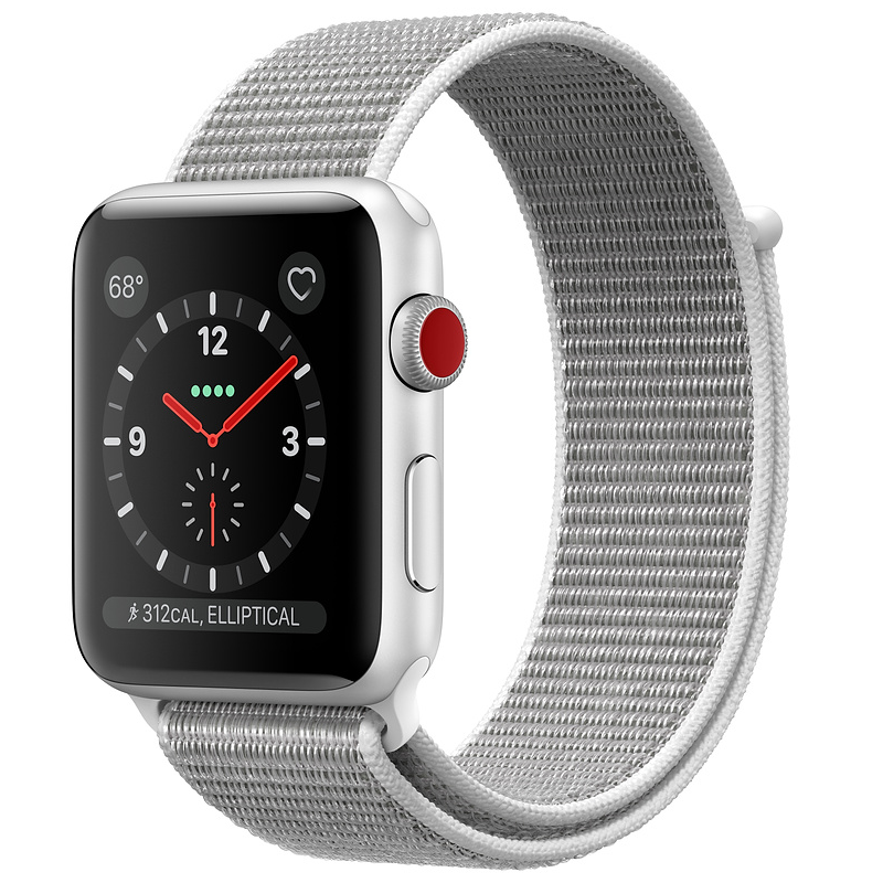 Купить - Apple Apple Watch Series 3 (GPS + Cellular) 38mm Silver Aluminum Case with Seashell Sport Loop (MQJR2)