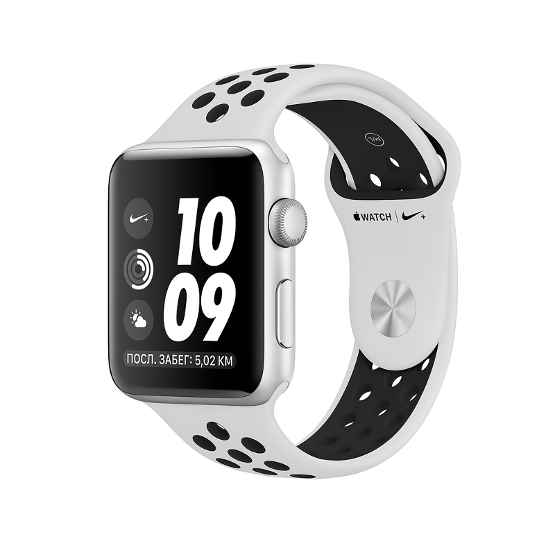 Купить - Apple Apple Watch Series 3 Nike+ (GPS) 42mm Silver Aluminum Case with Pure Platinum/Black Nike Sport Band (MQL32)