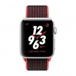 Фото Apple Apple Watch Series 3 Nike+ (GPS + Cellular) 42mm Silver Aluminum Case with Bright Crimson/Black Nike Sport Loop (MQLE2)