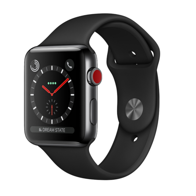 Купить - Apple Apple Watch Series 3 (GPS + Cellular) 38mm Space Black Stainless Steel Case with Black Sport Band (MQJW2)