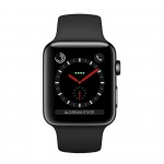 Фото Apple Apple Watch Series 3 (GPS + Cellular) 38mm Space Black Stainless Steel Case with Black Sport Band (MQJW2)
