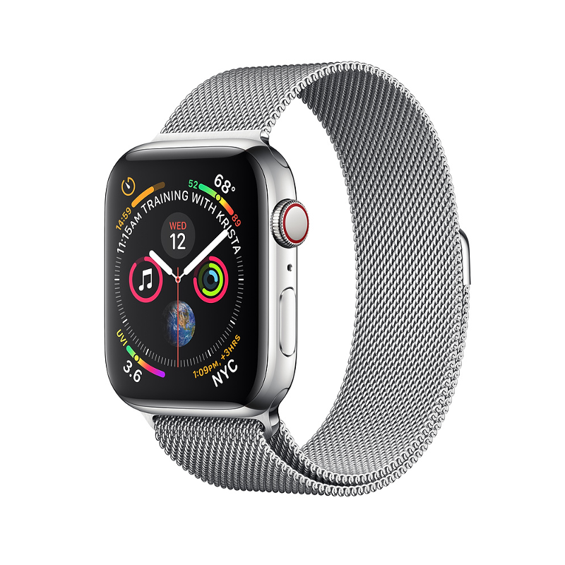 Купить - Apple Apple Watch Series 4 (GPS + Cellular) 40mm Stainless Steel Case with Milanese Loop (MTUM2)