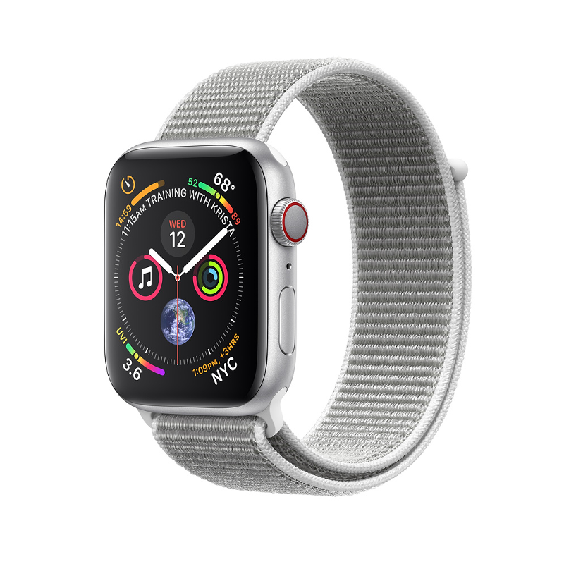 Купить - Apple Apple Watch Series 4 (GPS + Cellular) 40mm Silver Aluminium Case with Seashell Sport Loop (MTUF2/ MTVC2)