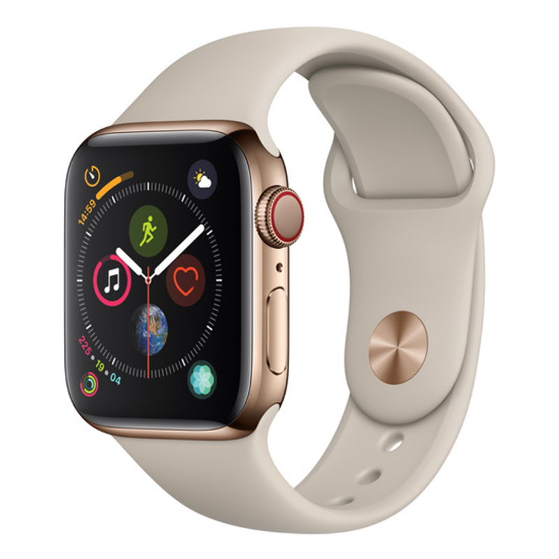 Купить - Apple Apple Watch Series 4 (GPS + Cellular) 40mm Gold Stainless Steel Case with Stone Sport Band