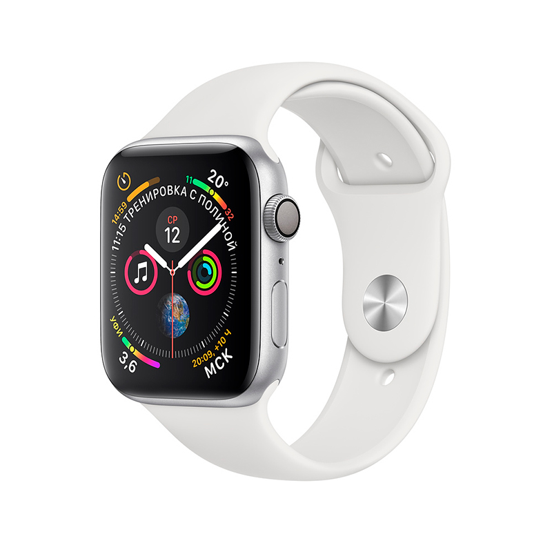 Купить - Apple Apple Watch Series 4 (GPS) 44 mm Silver Aluminum Case with White Sport Band (MU6A2)