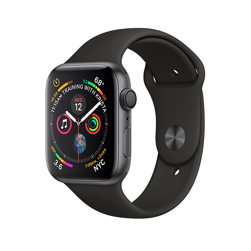Купить - Apple Apple Watch Series 4 (GPS) 44mm Space Gray Aluminium Case with Black Sport Band  (MU6D2)