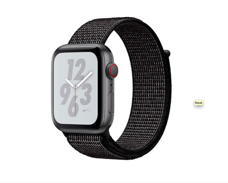 Купить -  Apple Watch Series 4 GPS + Cellular 44mm Space Gray Aluminum Case with Black Nike Sport Loop (MTXD2)