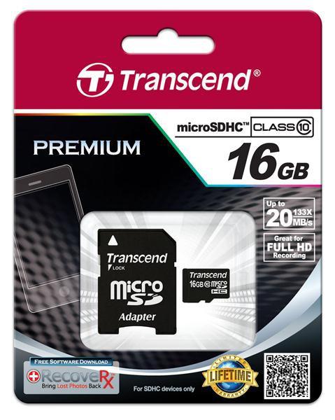 Купить -   Transcend MicroSDHC 16GB (Class 10) + SD адаптер