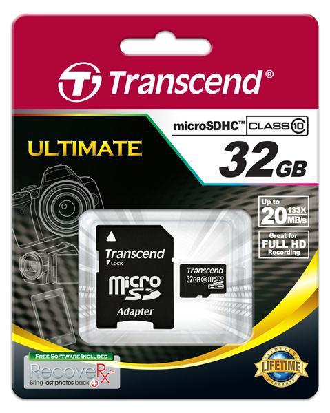 Купить -  Transcend MicroSDHC 32GB (Class 10) + SD адаптер