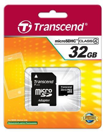 Купить -  Transcend MicroSDHC 32GB (Class 4) + SD адаптер