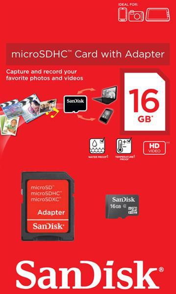 Купить -  SanDisk microSDHC 16GB + SD адаптер Class 4