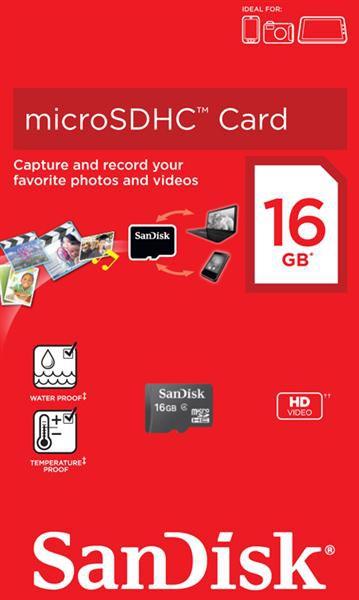 Купить -   SanDisk microSDHC 16GB Class 4