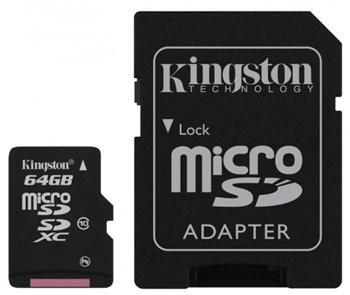 Купить -  Kingston microSDXC 64GB + SD адаптер